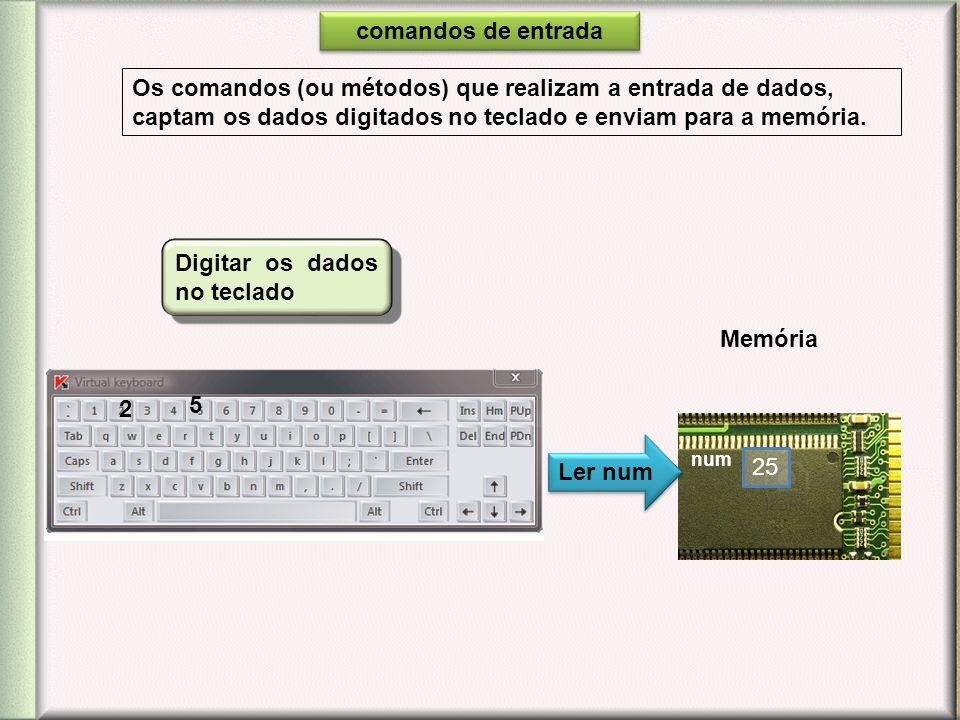 Os comandos (ou métodos) que realizam a entrada de dados, captam os dados digitados no teclado e enviam para a memória. Ler num Digitar os dados no te