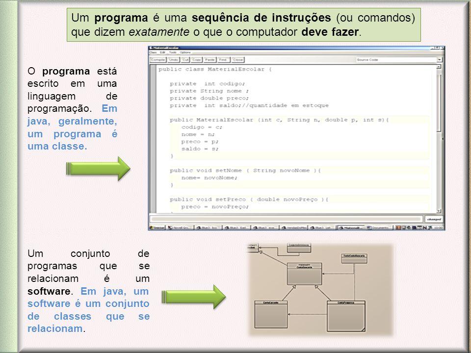 Um programa é uma sequência de instruções (ou comandos) que dizem exatamente o que o computador deve fazer. O programa está escrito em uma linguagem d