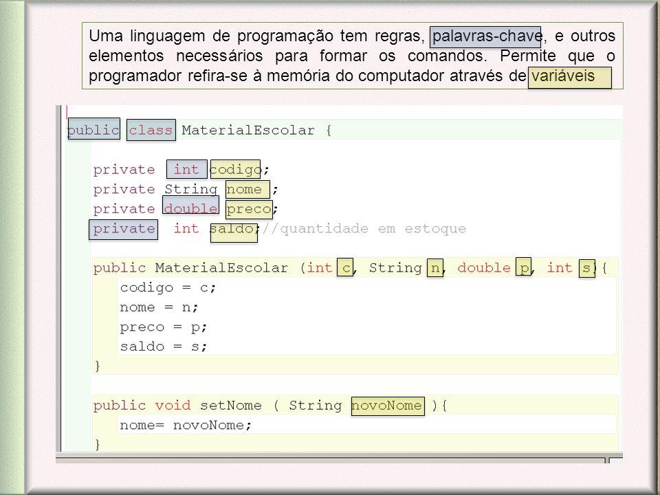 Uma linguagem de programação tem regras, palavras-chave, e outros elementos necessários para formar os comandos. Permite que o programador refira-se à