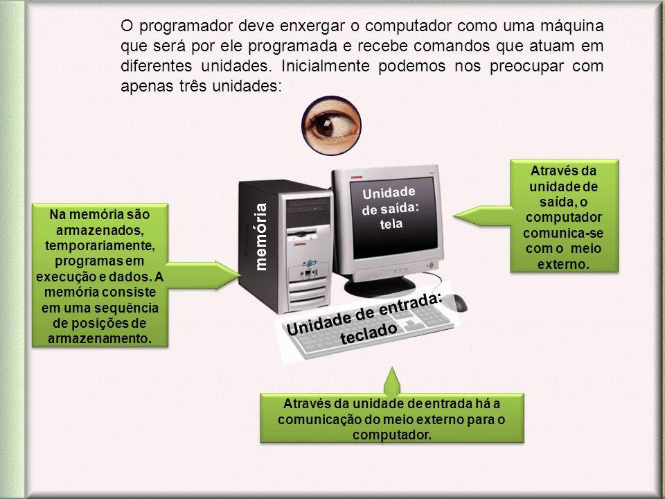 O programador deve enxergar o computador como uma máquina que será por ele programada e recebe comandos que atuam em diferentes unidades. Inicialmente