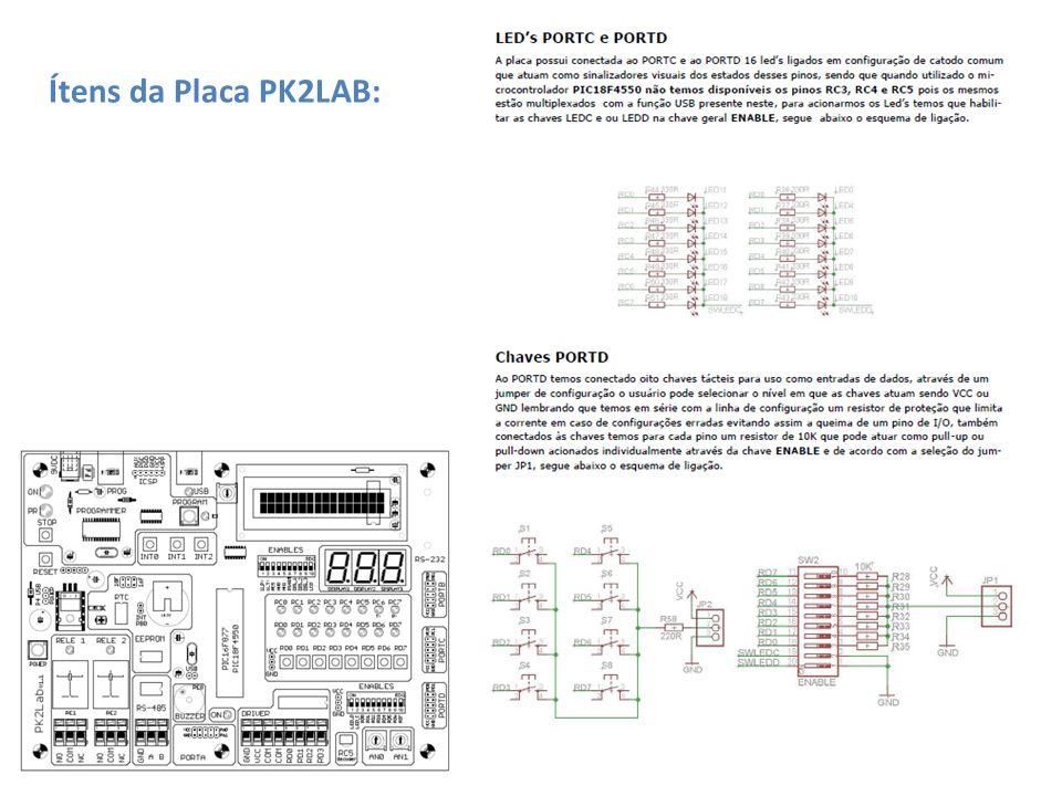 Ítens da Placa PK2LAB: