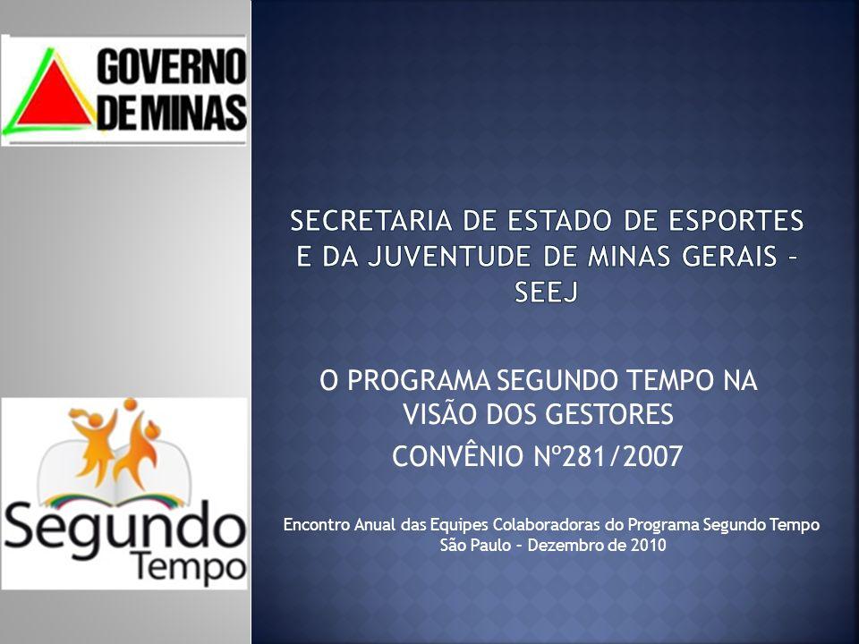 O PROGRAMA SEGUNDO TEMPO NA VISÃO DOS GESTORES CONVÊNIO Nº281/2007 Encontro Anual das Equipes Colaboradoras do Programa Segundo Tempo São Paulo – Dezembro de 2010