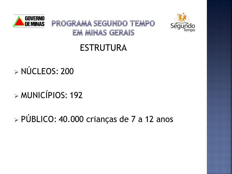 ESTRUTURA NÚCLEOS: 200 MUNICÍPIOS: 192 PÚBLICO: 40.000 crianças de 7 a 12 anos