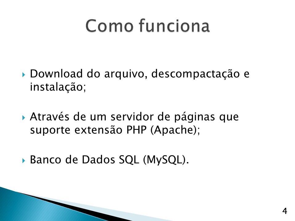 Download do arquivo, descompactação e instalação; Através de um servidor de páginas que suporte extensão PHP (Apache); Banco de Dados SQL (MySQL).