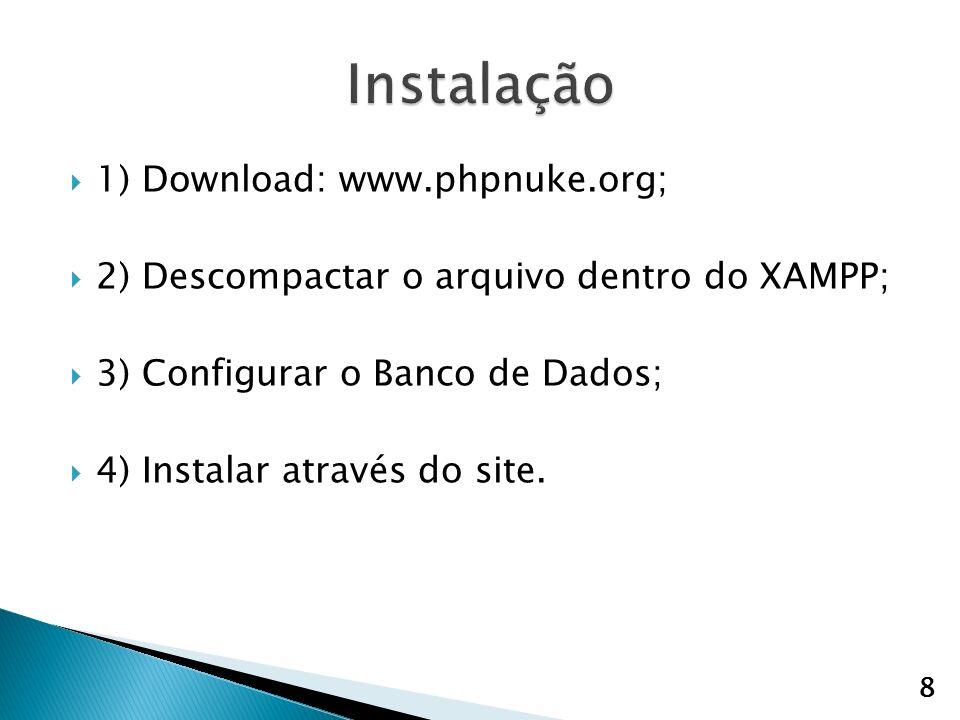 1) Download: www.phpnuke.org; 2) Descompactar o arquivo dentro do XAMPP; 3) Configurar o Banco de Dados; 4) Instalar através do site.