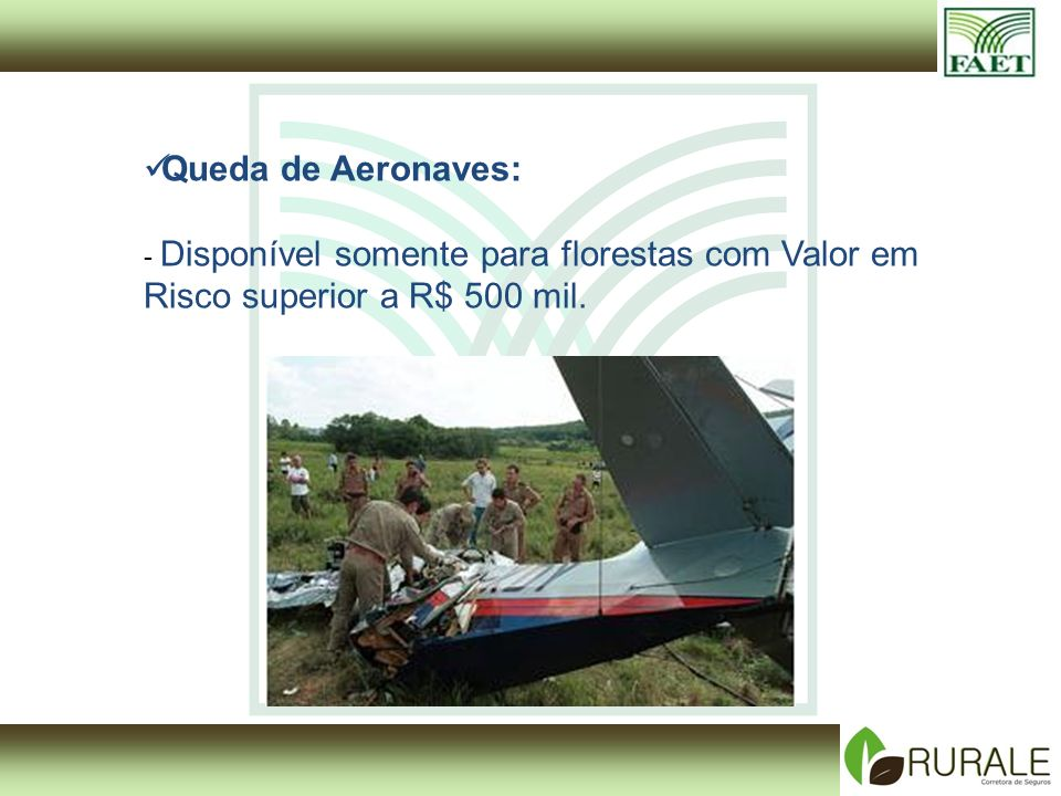 Queda de Aeronaves: - Disponível somente para florestas com Valor em Risco superior a R$ 500 mil.