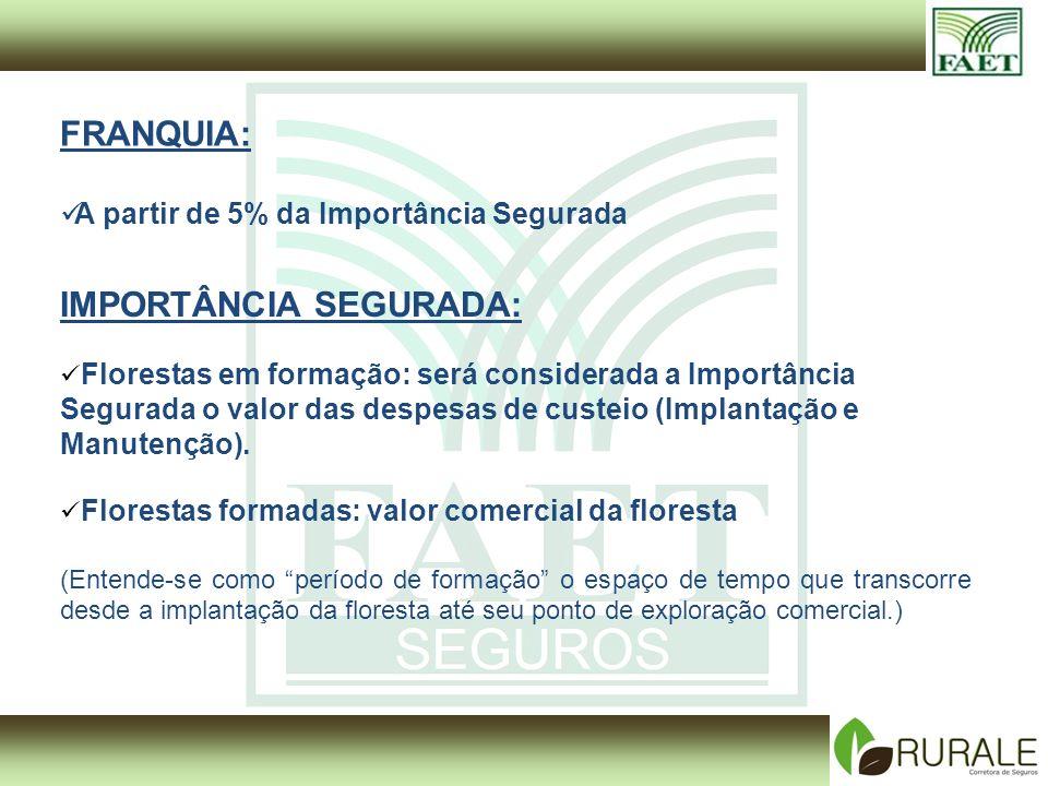 IMPORTÂNCIA SEGURADA: Florestas em formação: será considerada a Importância Segurada o valor das despesas de custeio (Implantação e Manutenção).