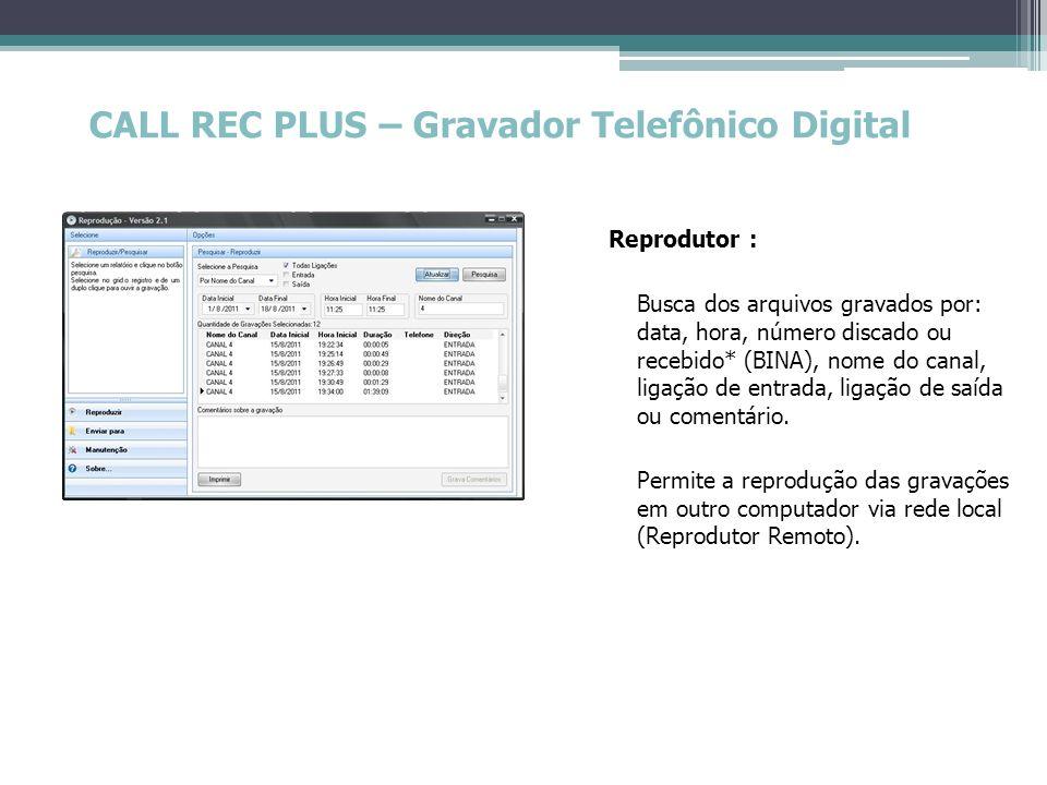CALL REC PLUS – Gravador Telefônico Digital Reprodutor : Busca dos arquivos gravados por: data, hora, número discado ou recebido* (BINA), nome do cana