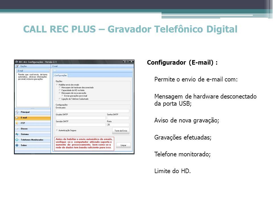 CALL REC PLUS – Gravador Telefônico Digital Configurador (E-mail) : Permite o envio de e-mail com: Mensagem de hardware desconectado da porta USB; Avi