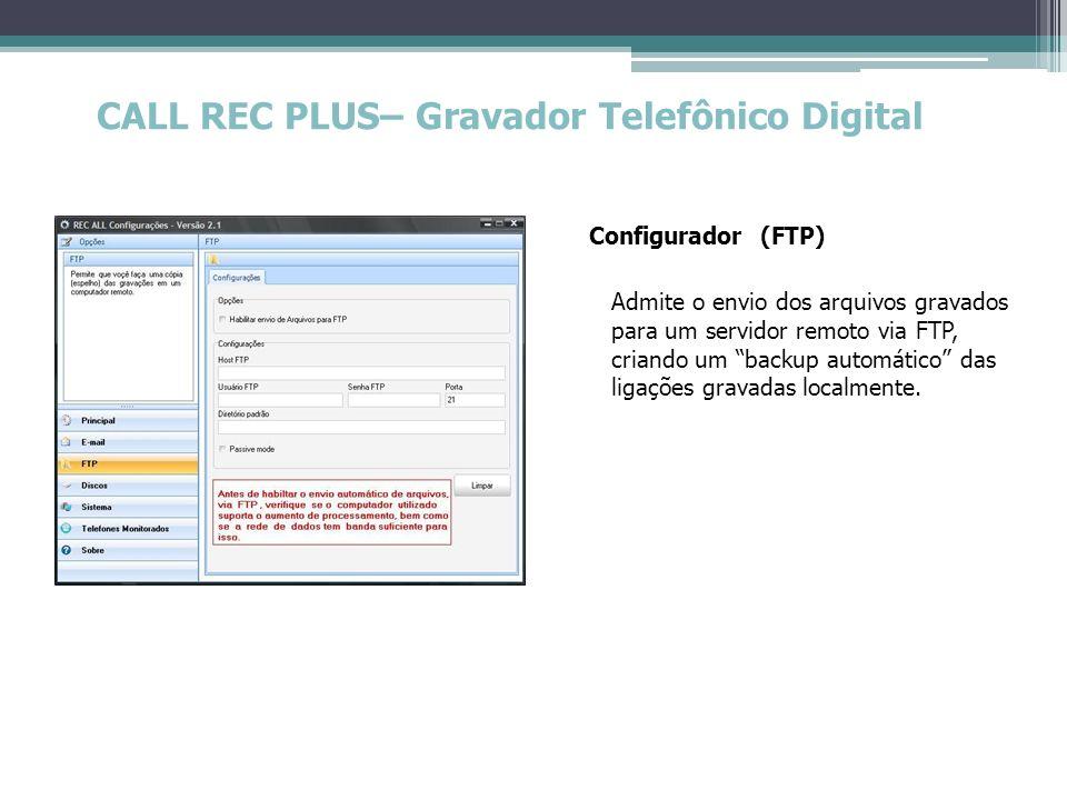 CALL REC PLUS– Gravador Telefônico Digital Configurador (FTP) Admite o envio dos arquivos gravados para um servidor remoto via FTP, criando um backup