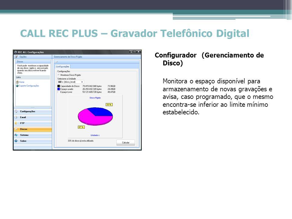 CALL REC PLUS – Gravador Telefônico Digital Configurador (Gerenciamento de Disco) Monitora o espaço disponível para armazenamento de novas gravações e