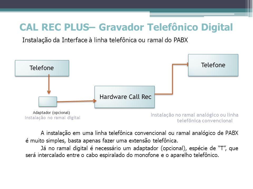 CALL REC PLUS – Gravador Telefônico Digital Instalação da Interface ao Computador Módulo de Gravação Computador do Cliente É só conectar o cabo USB e pronto!