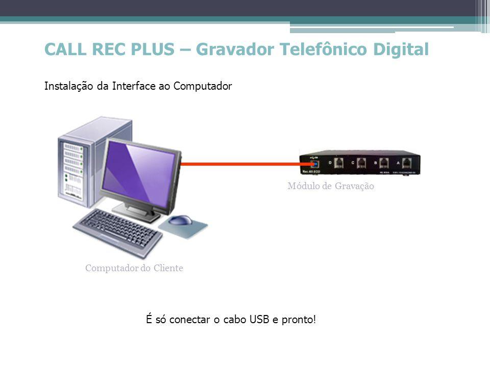 CALL REC PLUS – Gravador Telefônico Digital Instalação da Interface ao Computador Módulo de Gravação Computador do Cliente É só conectar o cabo USB e