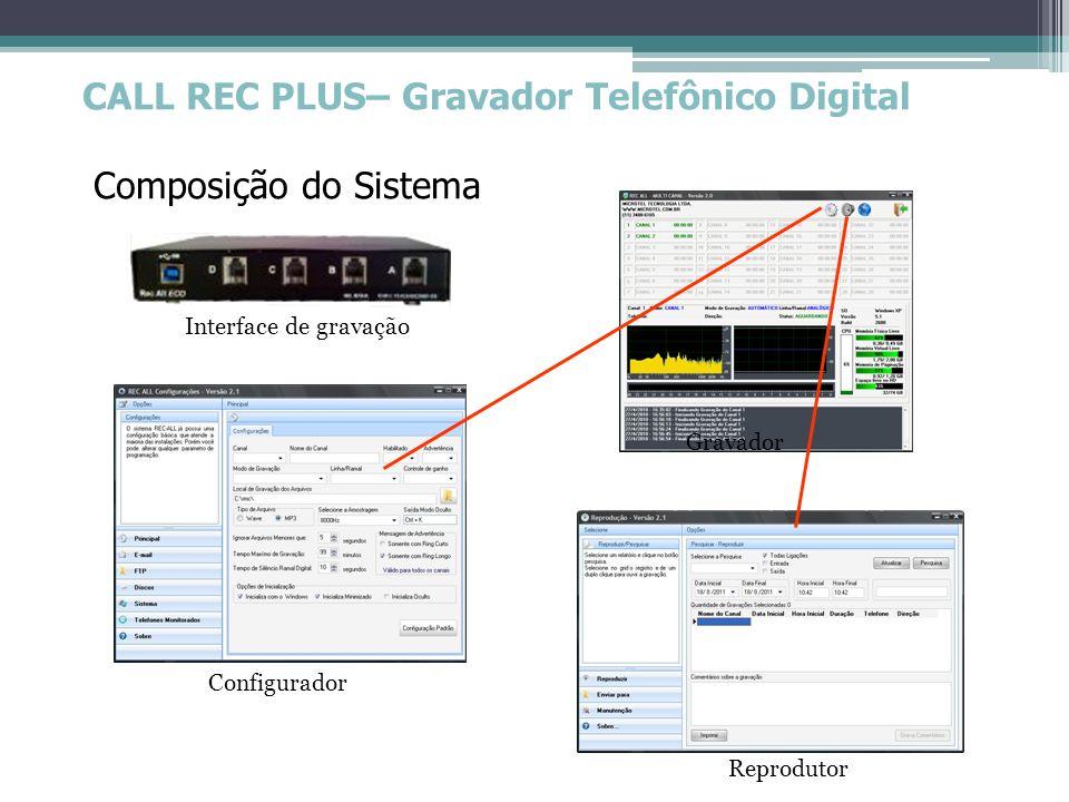 CALL REC PLUS – Gravador Telefônico Digital Módulo de Supervisão Remota (Opcional) Aplicativo que permite o monitoramento de todos os canais de gravação com interação entre supervisor e atendente através de escuta on-line e/ou conversação via chat (texto).