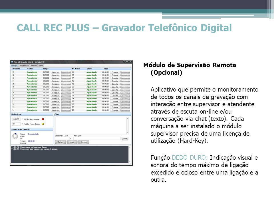 CALL REC PLUS – Gravador Telefônico Digital Gravador Software de gravação com indicações práticas e objetivas como: Dados da empresa (PERSONALIZAÇÃO); Nome do canal; Número discado ou recebido (BINA); Medidor gráfico de volume; Tempo transcorrido; Eventos ocorridos (LOG); Indicador do nível de uso do PC utilizado; Acesso a demais módulos (CONFIGURADOR E REPRODUTOR).