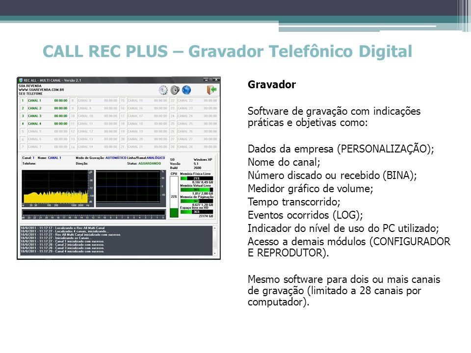 CALL REC PLUS – Gravador Telefônico Digital Reprodutor : Busca dos arquivos gravados por: data, hora, número discado ou recebido* (BINA), nome do canal, ligação de entrada, ligação de saída ou comentário.