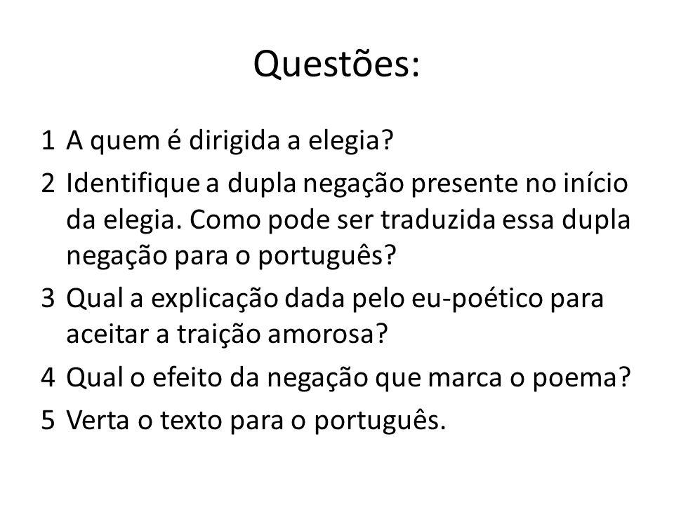 Questões: 1A quem é dirigida a elegia? 2Identifique a dupla negação presente no início da elegia. Como pode ser traduzida essa dupla negação para o po