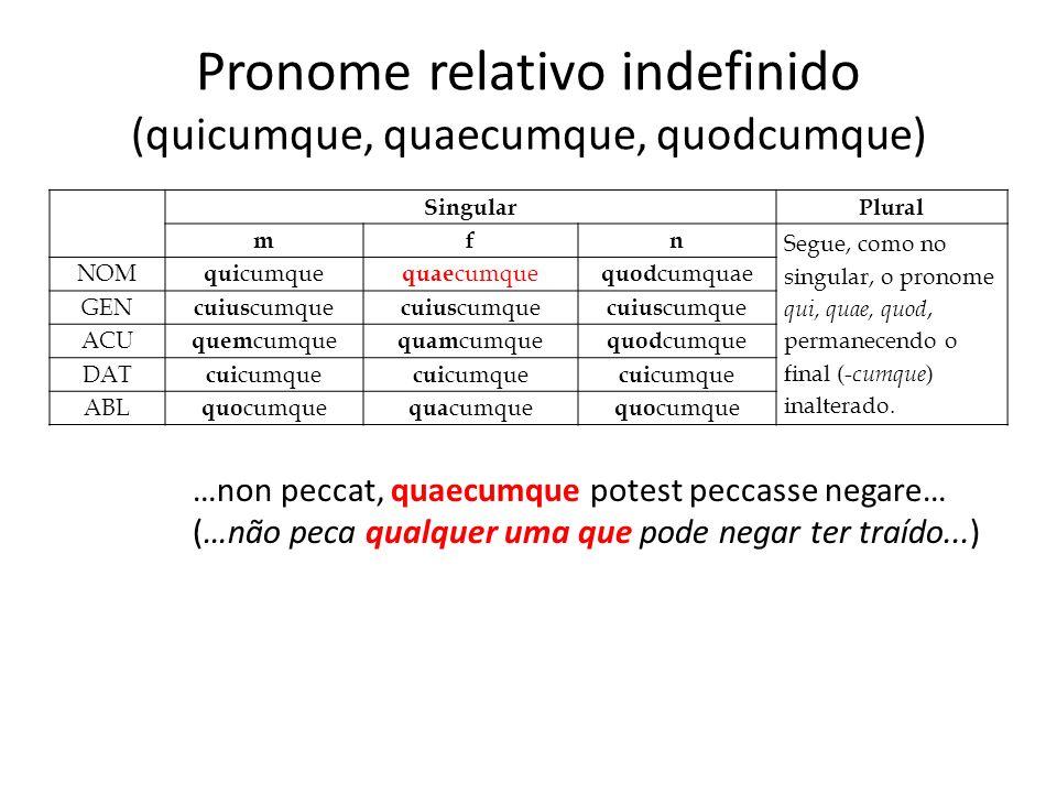 Pronome relativo indefinido (quicumque, quaecumque, quodcumque) …non peccat, quaecumque potest peccasse negare… (…não peca qualquer uma que pode negar