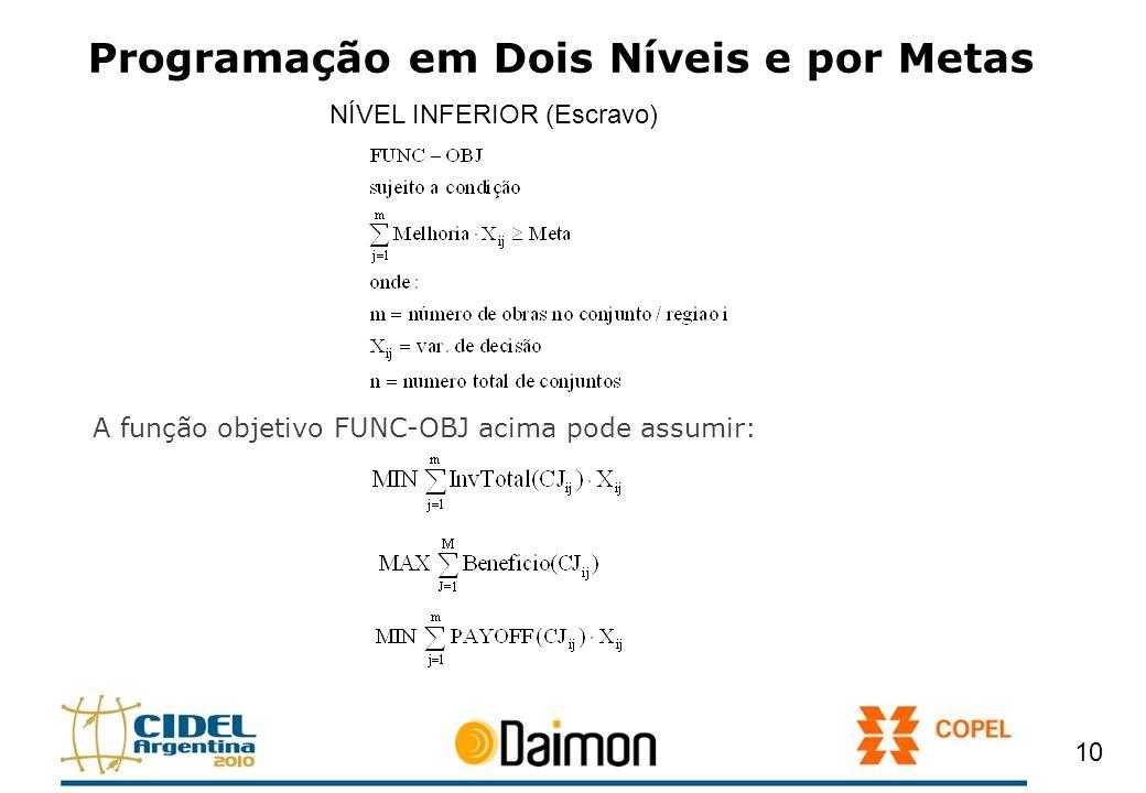Programação em Dois Níveis e por Metas A função objetivo FUNC-OBJ acima pode assumir: 10 NÍVEL INFERIOR (Escravo)