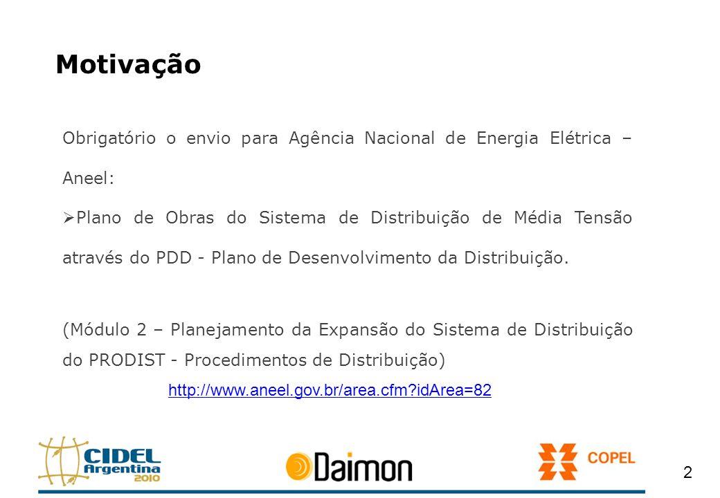 Motivação Obrigatório o envio para Agência Nacional de Energia Elétrica – Aneel: Plano de Obras do Sistema de Distribuição de Média Tensão através do