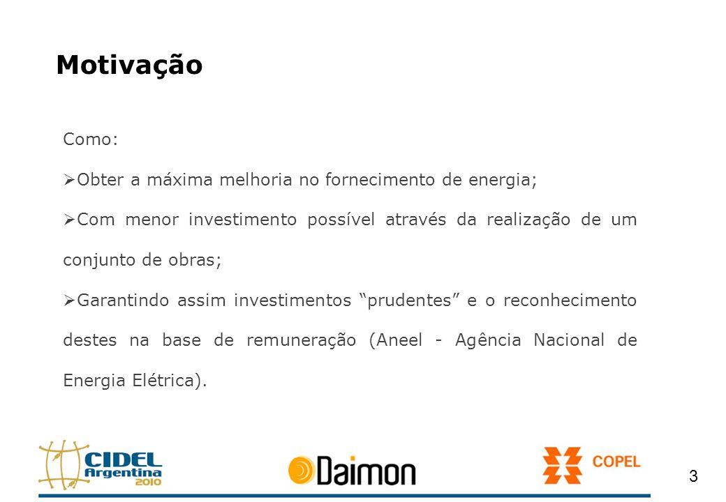 Motivação Como: Obter a máxima melhoria no fornecimento de energia; Com menor investimento possível através da realização de um conjunto de obras; Gar