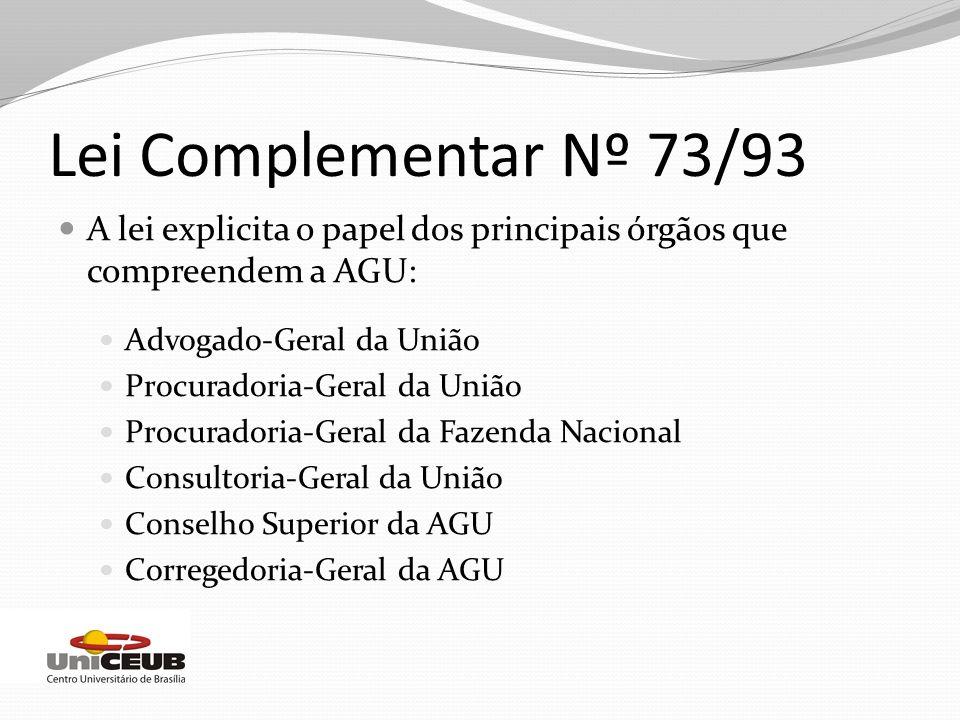 A lei explicita o papel dos principais órgãos que compreendem a AGU: Advogado-Geral da União Procuradoria-Geral da União Procuradoria-Geral da Fazenda