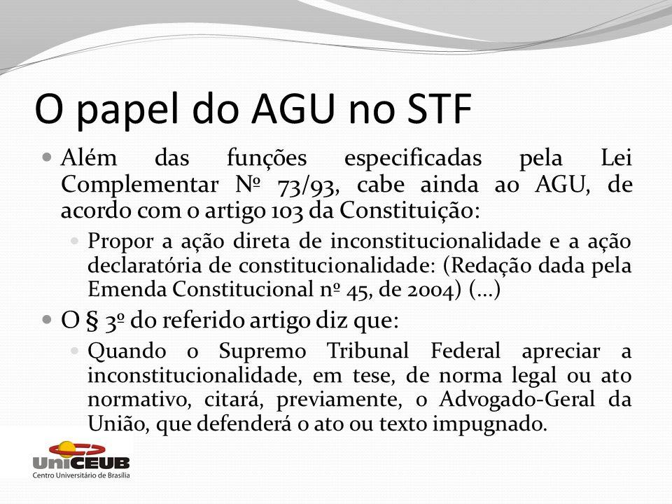 O papel do AGU no STF Além das funções especificadas pela Lei Complementar Nº 73/93, cabe ainda ao AGU, de acordo com o artigo 103 da Constituição: Pr