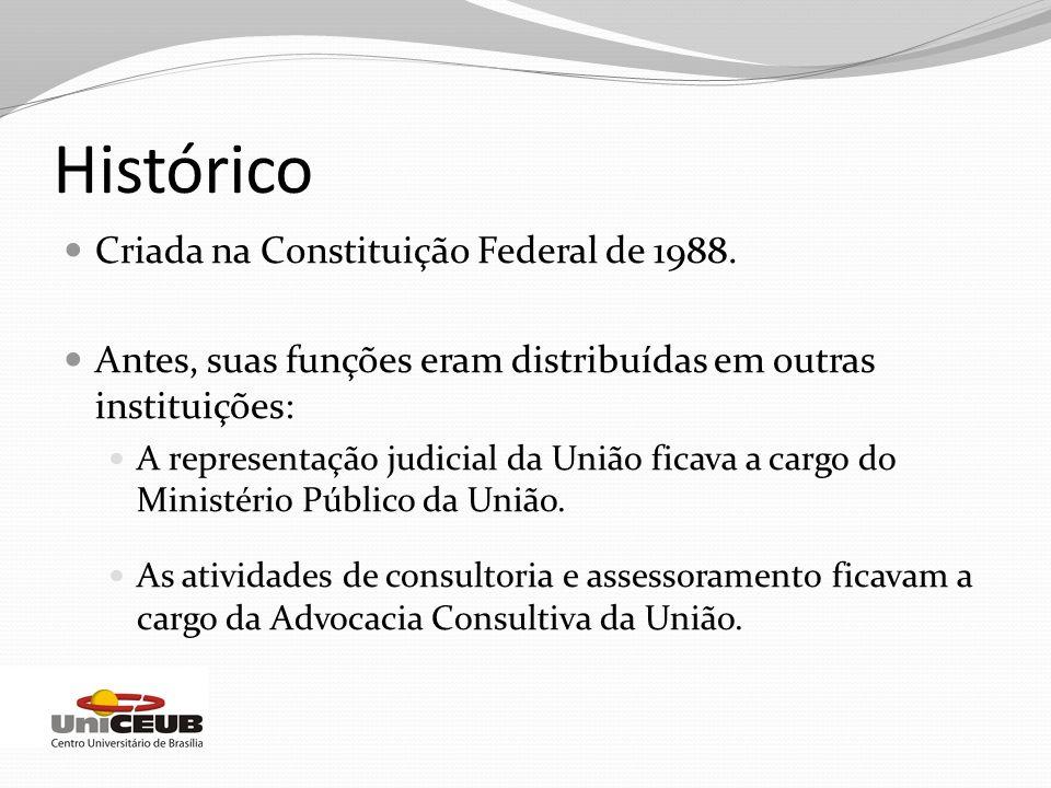 Histórico Criada na Constituição Federal de 1988. Antes, suas funções eram distribuídas em outras instituições: A representação judicial da União fica