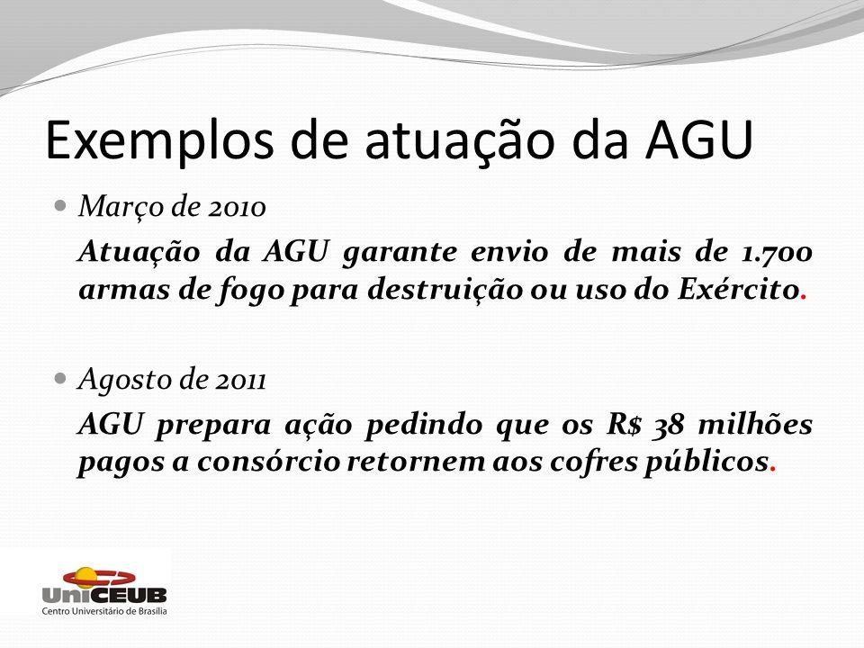 Exemplos de atuação da AGU Março de 2010 Atuação da AGU garante envio de mais de 1.700 armas de fogo para destruição ou uso do Exército. Agosto de 201