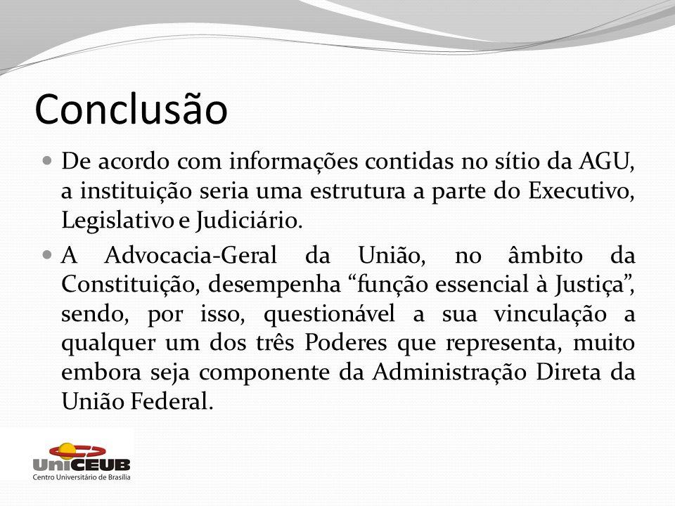 Conclusão De acordo com informações contidas no sítio da AGU, a instituição seria uma estrutura a parte do Executivo, Legislativo e Judiciário. A Advo