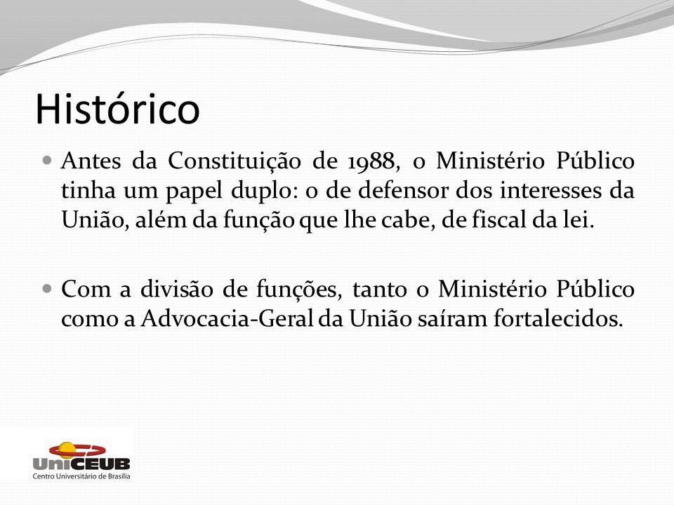 Histórico Antes da Constituição de 1988, o Ministério Público tinha um papel duplo: o de defensor dos interesses da União, além da função que lhe cabe