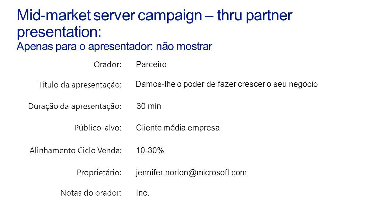 Mid-market server campaign – thru partner presentation: Apenas para o apresentador: não mostrar Orador: Parceiro Título da apresentação: Damos-lhe o p
