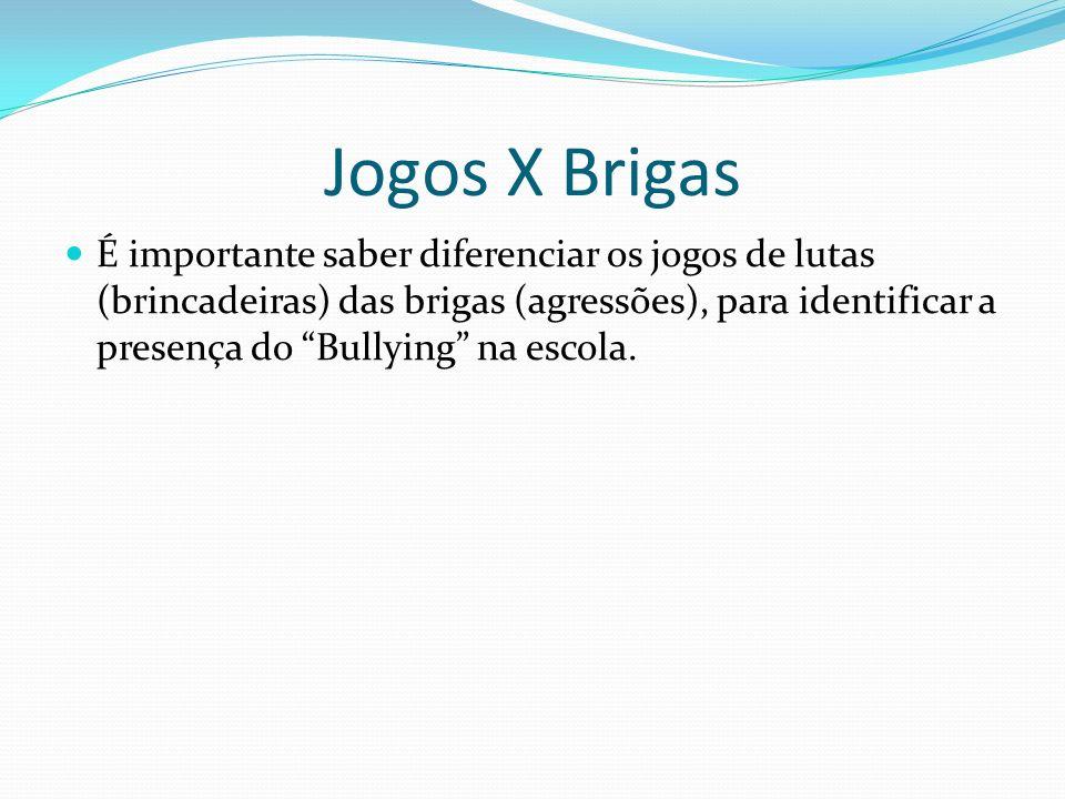 Jogos X Brigas É importante saber diferenciar os jogos de lutas (brincadeiras) das brigas (agressões), para identificar a presença do Bullying na esco