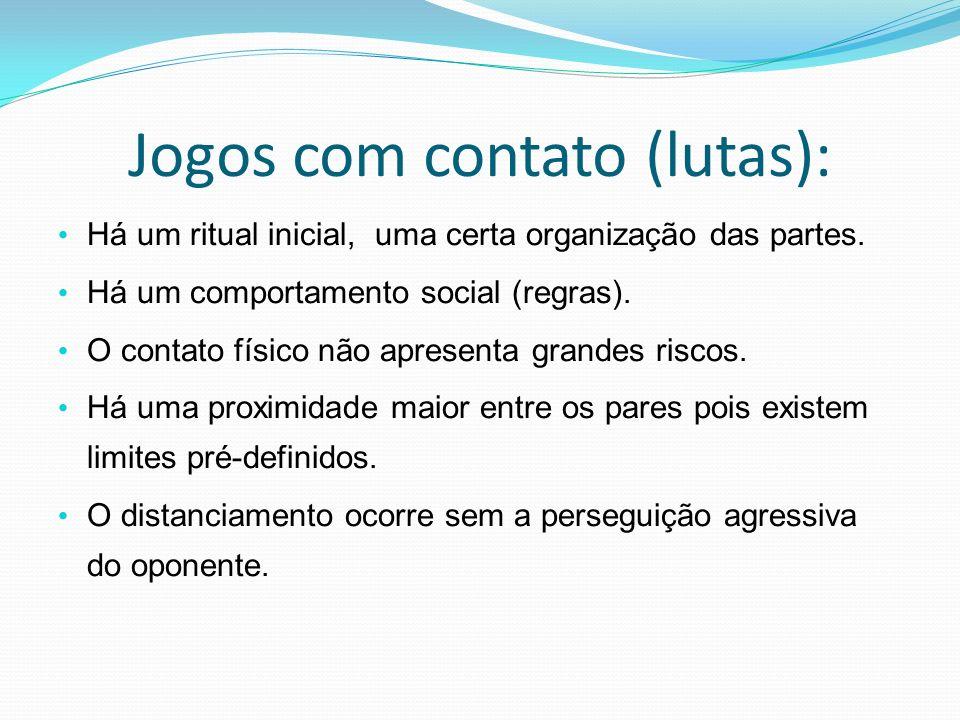 Jogos com contato (lutas): Há um ritual inicial, uma certa organização das partes. Há um comportamento social (regras). O contato físico não apresenta