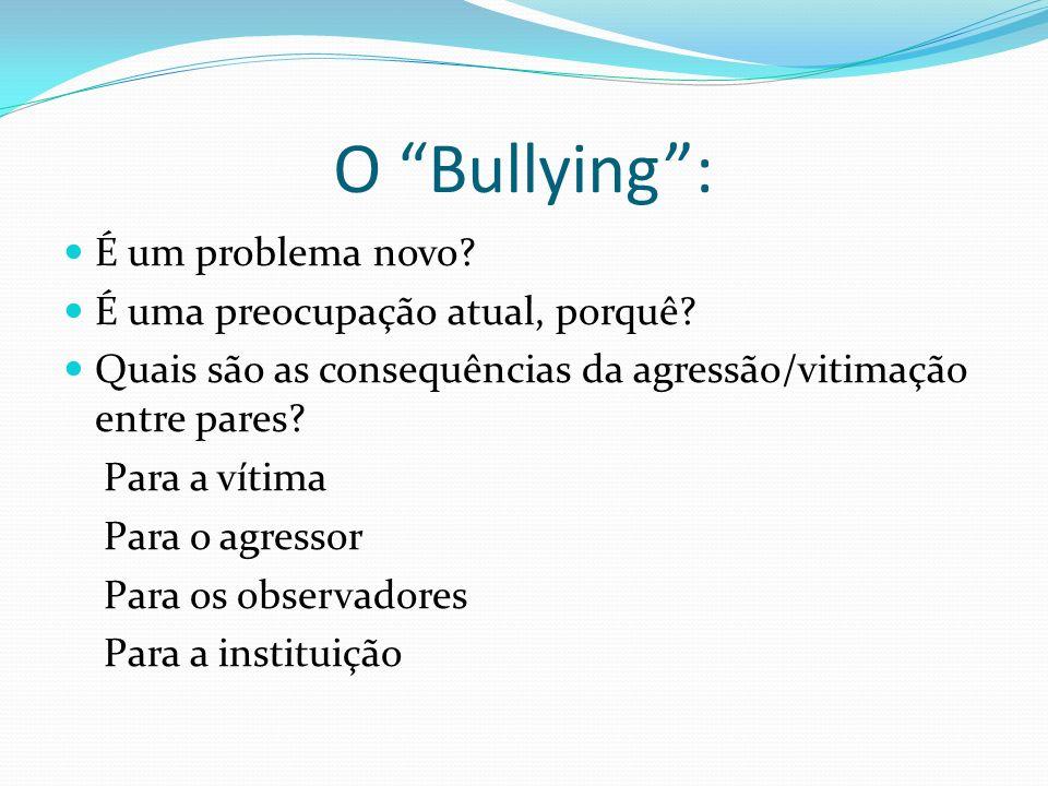 O Bullying: É um problema novo? É uma preocupação atual, porquê? Quais são as consequências da agressão/vitimação entre pares? Para a vítima Para o ag
