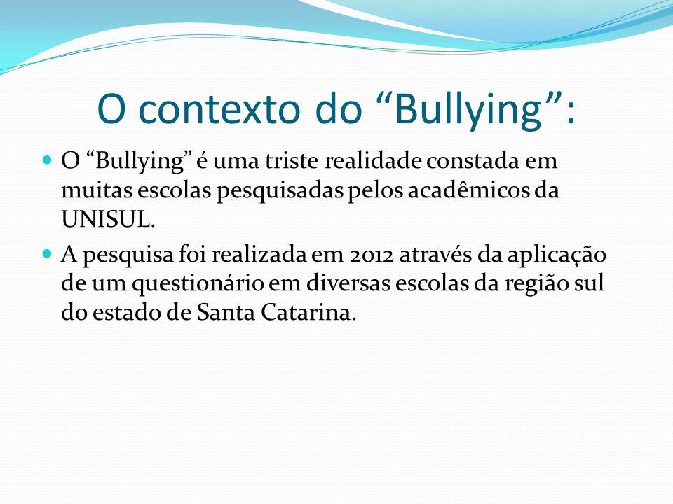 O contexto do Bullying: O Bullying é uma triste realidade constada em muitas escolas pesquisadas pelos acadêmicos da UNISUL. A pesquisa foi realizada