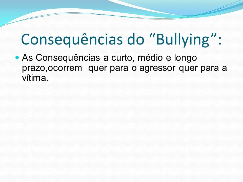 Consequências do Bullying: As Consequências a curto, médio e longo prazo,ocorrem quer para o agressor quer para a vítima.