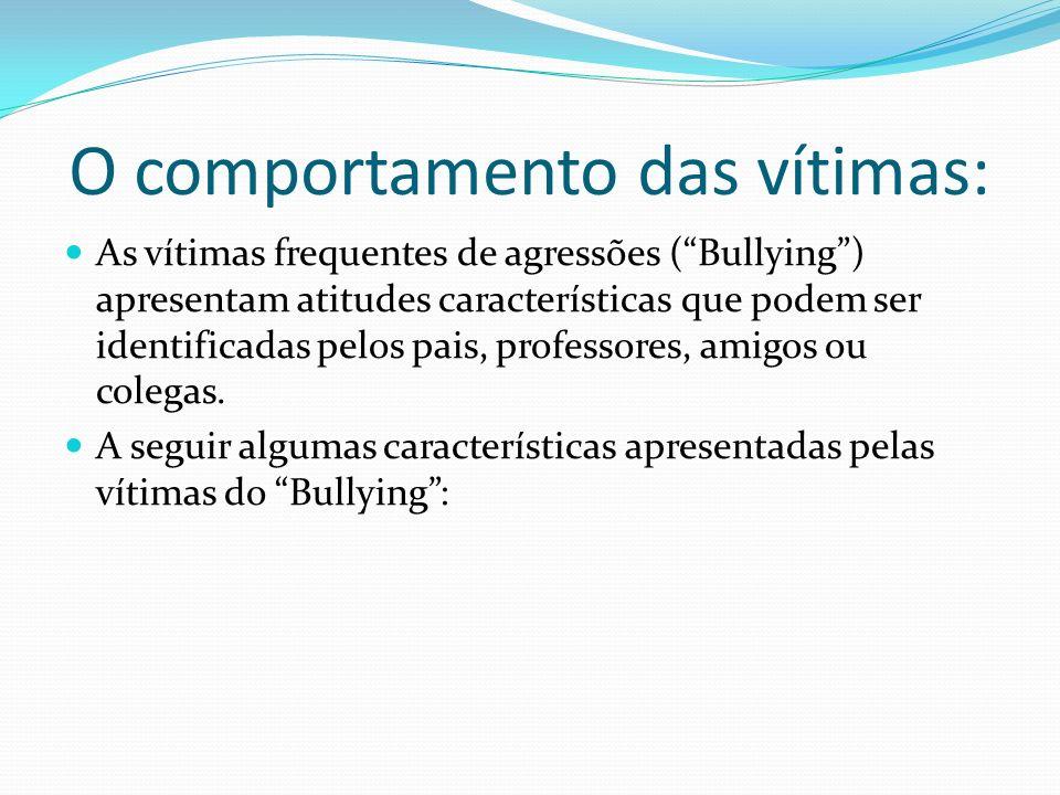 O comportamento das vítimas: As vítimas frequentes de agressões (Bullying) apresentam atitudes características que podem ser identificadas pelos pais, professores, amigos ou colegas.