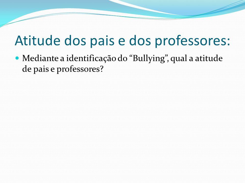 Atitude dos pais e dos professores: Mediante a identificação do Bullying, qual a atitude de pais e professores?