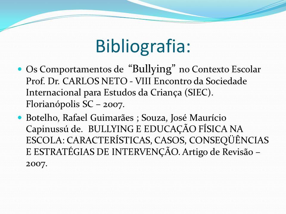 Bibliografia: Os Comportamentos de Bullying no Contexto Escolar Prof.