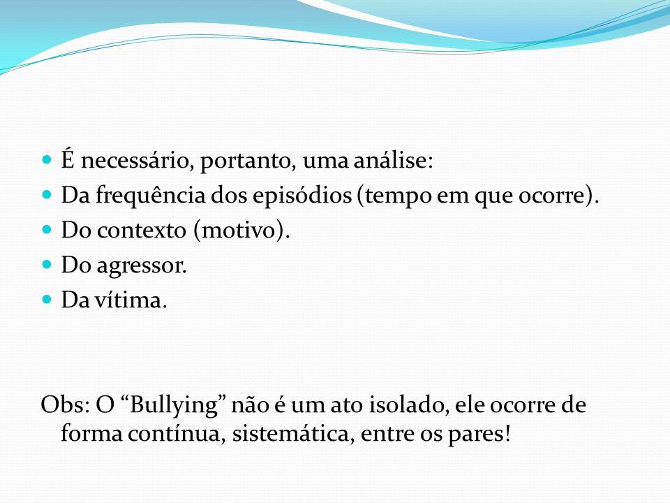 Locais onde o Bullying ocorre com maior frequência nas escolas: No intervalo do recreio.