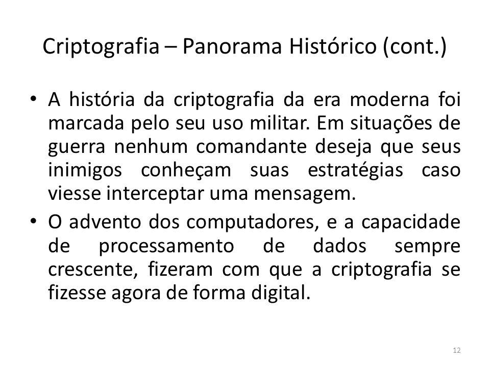 Criptografia – Panorama Histórico (cont.) A história da criptografia da era moderna foi marcada pelo seu uso militar. Em situações de guerra nenhum co