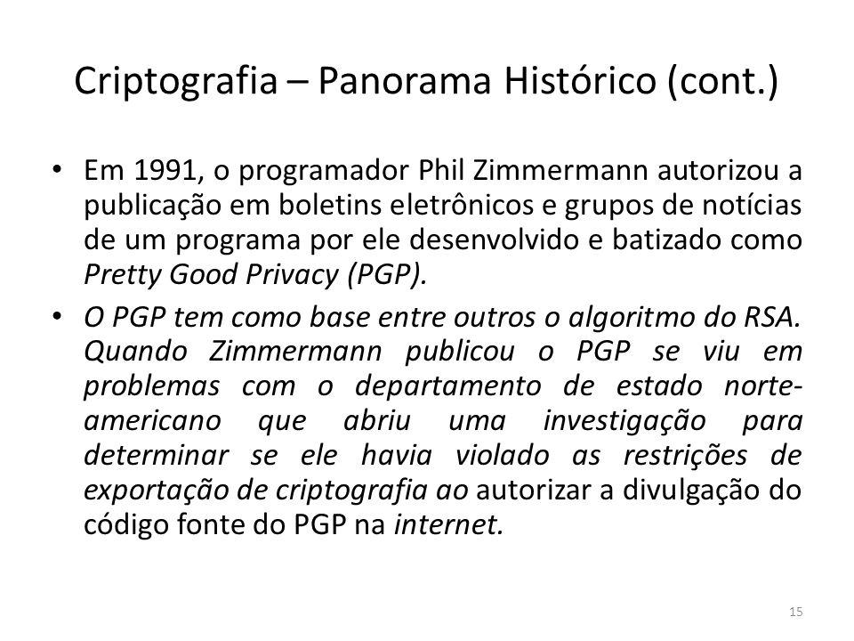 Criptografia – Panorama Histórico (cont.) Em 1991, o programador Phil Zimmermann autorizou a publicação em boletins eletrônicos e grupos de notícias d