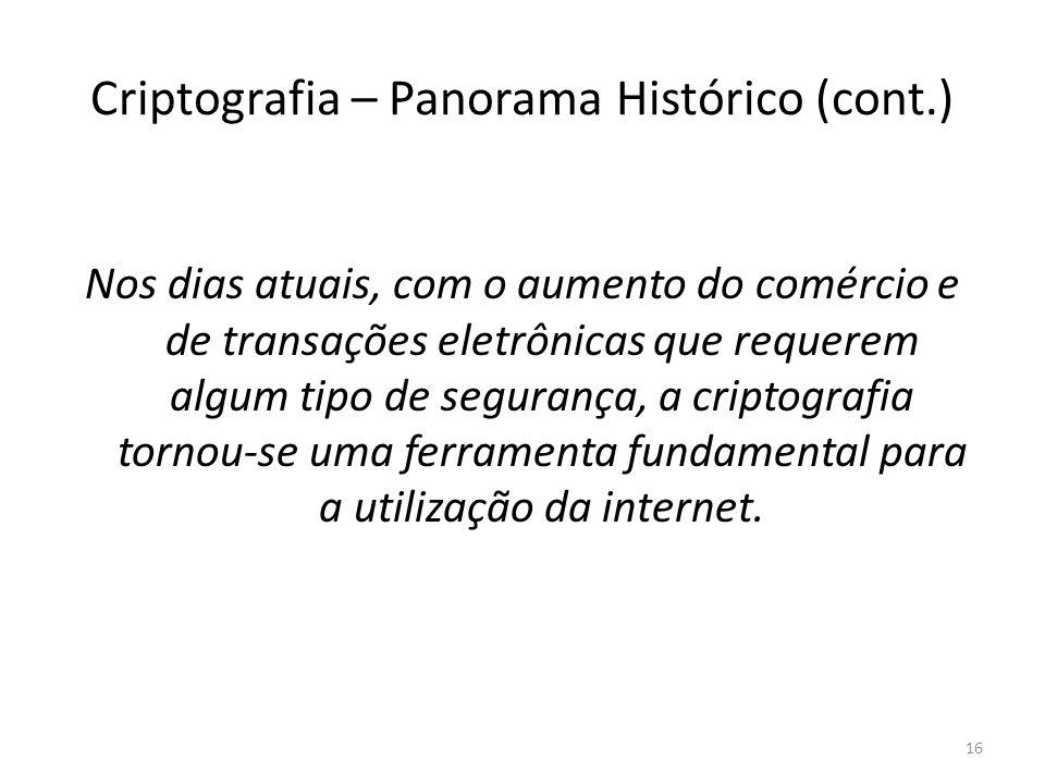 Criptografia – Panorama Histórico (cont.) Nos dias atuais, com o aumento do comércio e de transações eletrônicas que requerem algum tipo de segurança,
