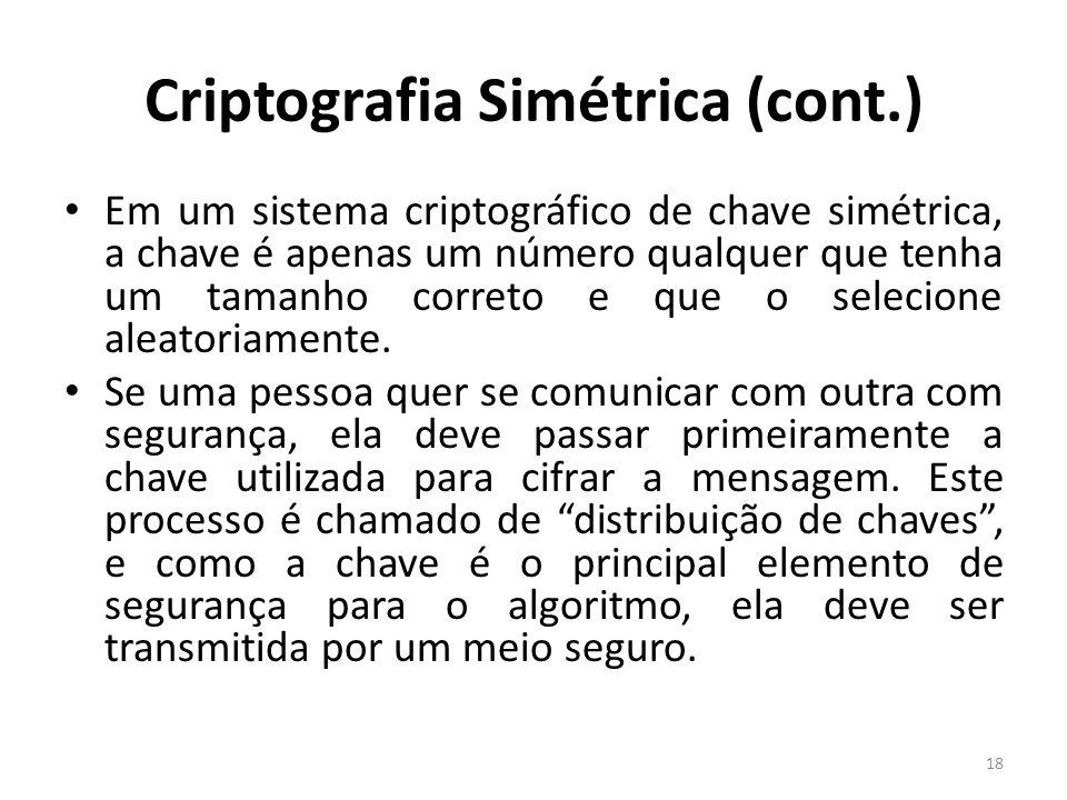Criptografia Simétrica (cont.) Em um sistema criptográfico de chave simétrica, a chave é apenas um número qualquer que tenha um tamanho correto e que