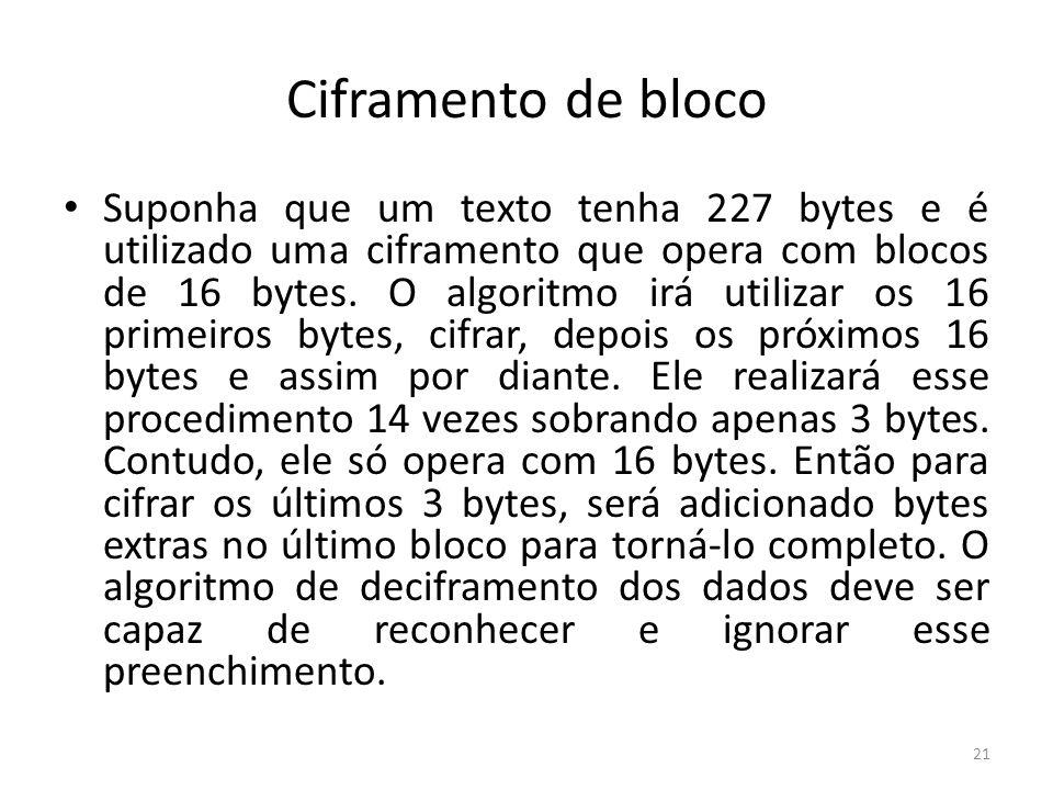 Ciframento de bloco Suponha que um texto tenha 227 bytes e é utilizado uma ciframento que opera com blocos de 16 bytes. O algoritmo irá utilizar os 16