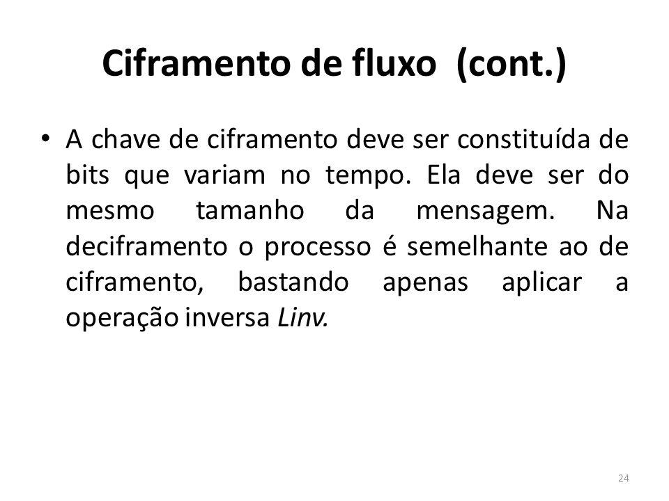 Ciframento de fluxo (cont.) A chave de ciframento deve ser constituída de bits que variam no tempo. Ela deve ser do mesmo tamanho da mensagem. Na deci
