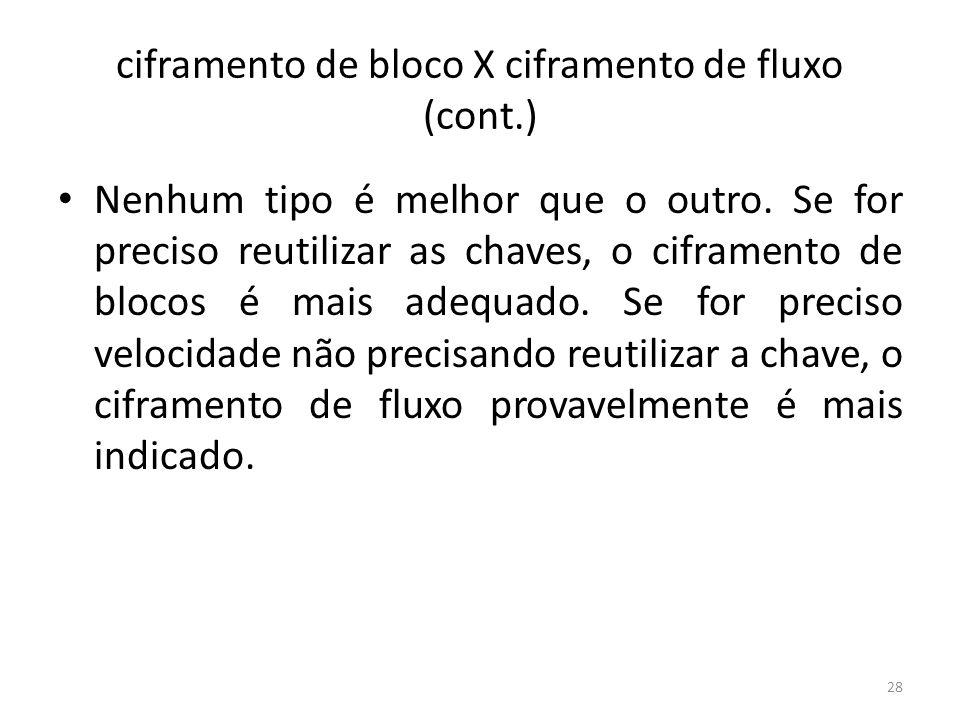 ciframento de bloco X ciframento de fluxo (cont.) Nenhum tipo é melhor que o outro. Se for preciso reutilizar as chaves, o ciframento de blocos é mais