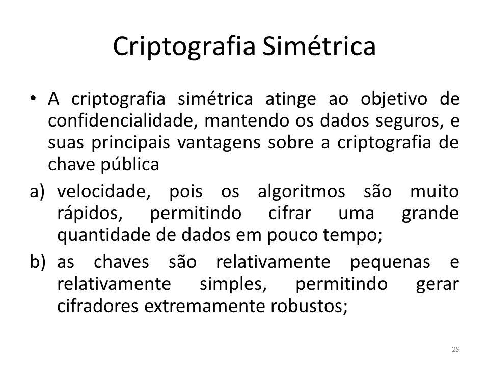 Criptografia Simétrica A criptografia simétrica atinge ao objetivo de confidencialidade, mantendo os dados seguros, e suas principais vantagens sobre