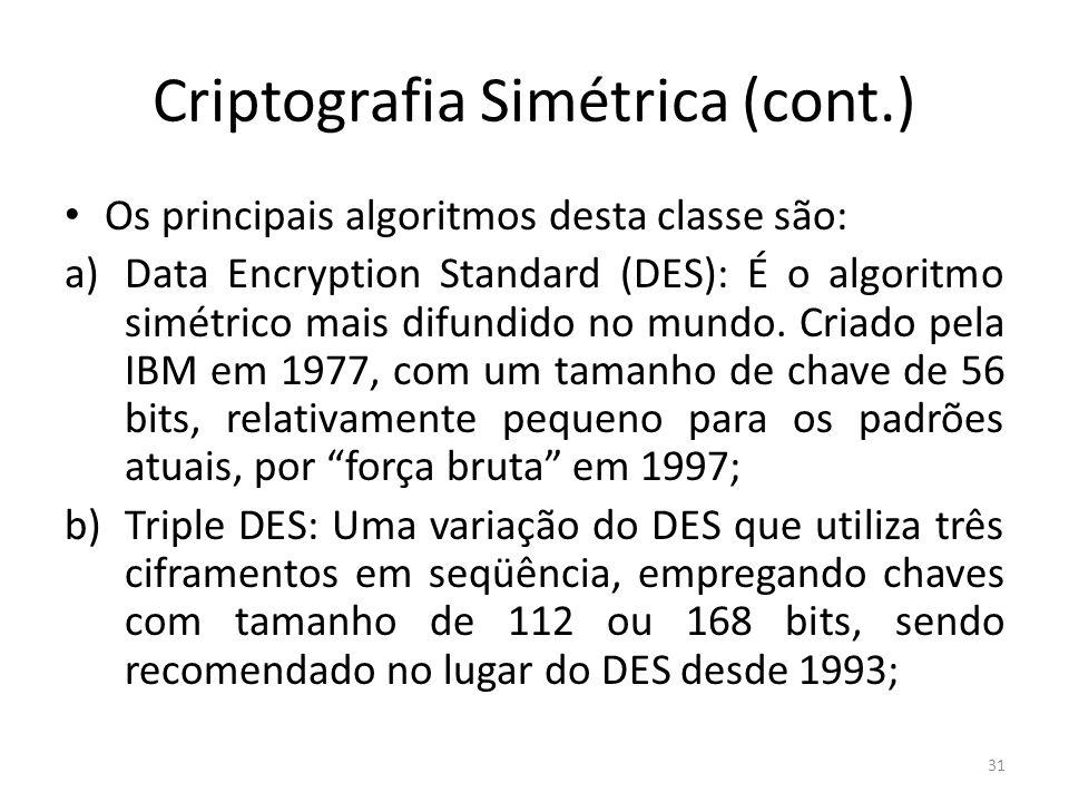 Criptografia Simétrica (cont.) Os principais algoritmos desta classe são: a)Data Encryption Standard (DES): É o algoritmo simétrico mais difundido no